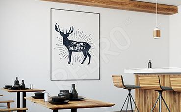 Plakat czarno-biały z jeleniem
