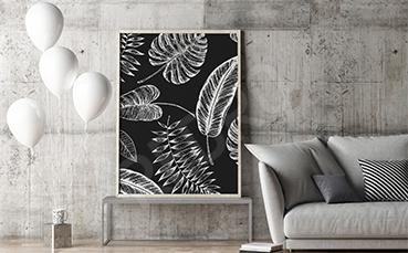 Plakat czarno-biały z liśćmi monstery