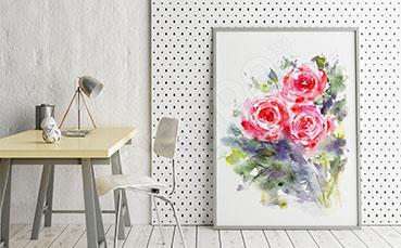 Plakat czerwone róże