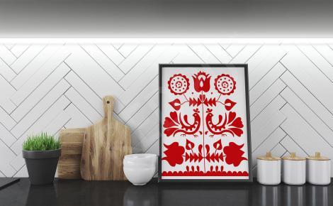 Plakat czerwono-biały motyw folk