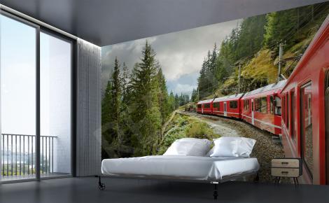 Plakat czerwony pociąg