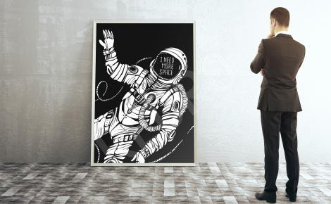 Plakat człowiek w kosmosie