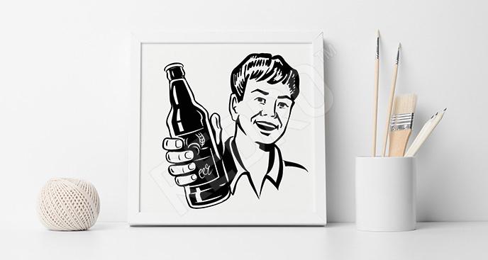 Plakat człowiek z butelką