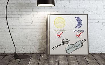 Plakat dentystyczny pasta i szczoteczka