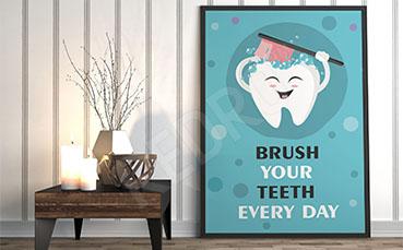 Plakat dentystyczny szczotkowanie zębów