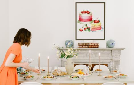 Plakat do kuchni – tort truskawkowy
