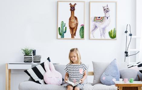 Plakat do pokoju dziecka z alpakami