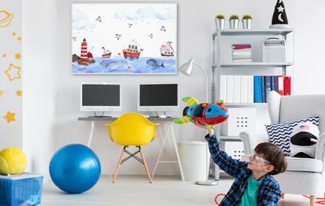 Plakat do pokoju dziecka z łódkami