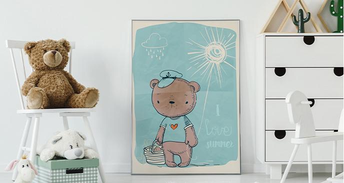 Plakat do pokoju dziecka z misiem