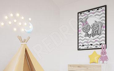 Plakat do pokoju dziecka z zajączkami