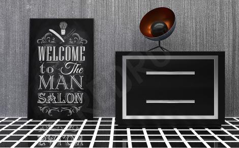 Plakat do salonu fryzjerskiego czarno-biały