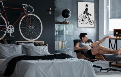 Plakat do sypialni z rowerzystą