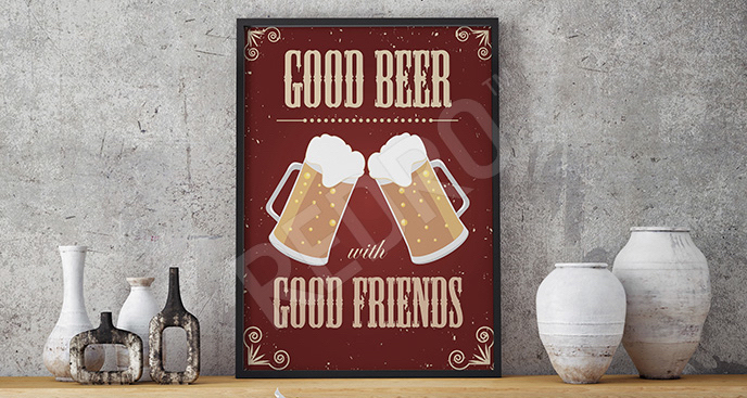 Plakat dwa kufle piwa