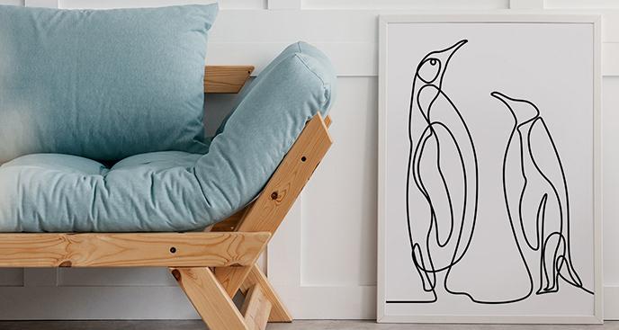 Plakat dwa pingwiny