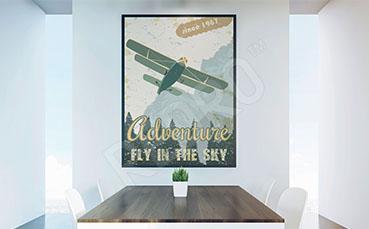 Plakat dwupłatowiec retro