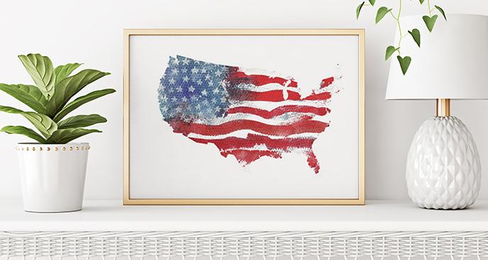 Plakat flaga Stanów Zjednoczonych