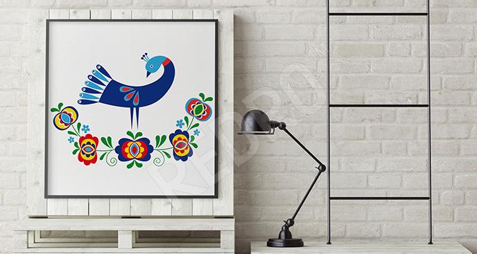 Plakat folklor z ptakiem