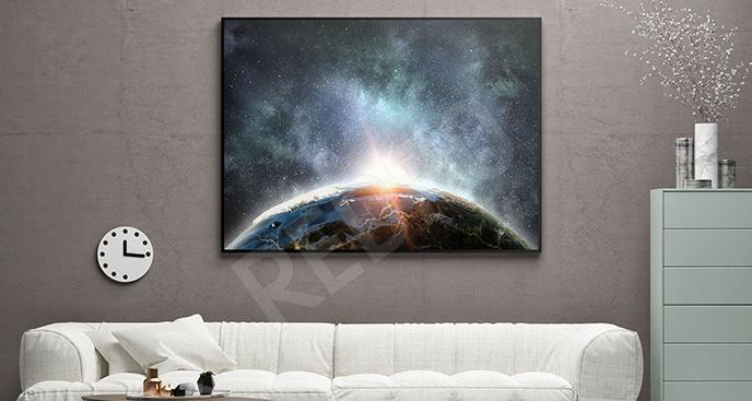Plakat galaktyka i Ziemia