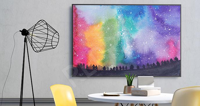 Plakat galaktyka malowana akwarelą