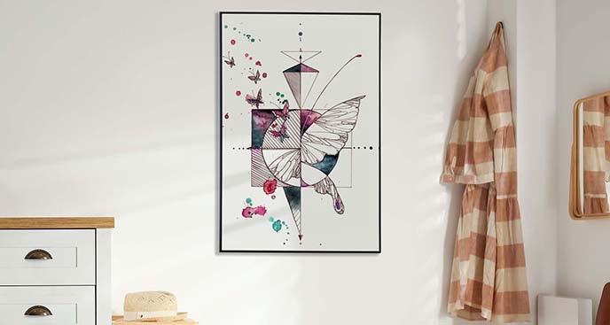 Plakat geometryczny - skrzydło motyla