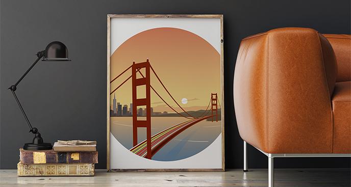 Plakat Golden Gate o zachodzie słońca