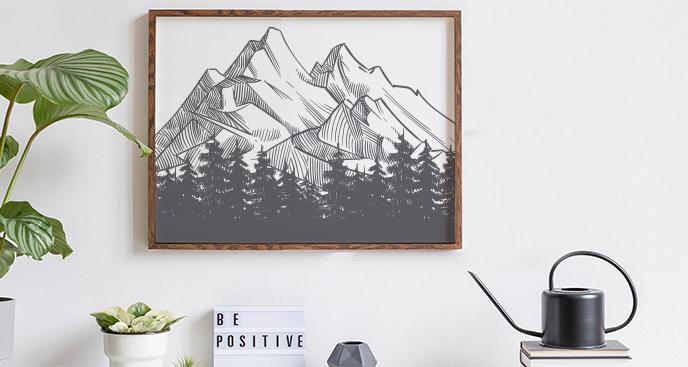 Nowoczesny plakat z górami