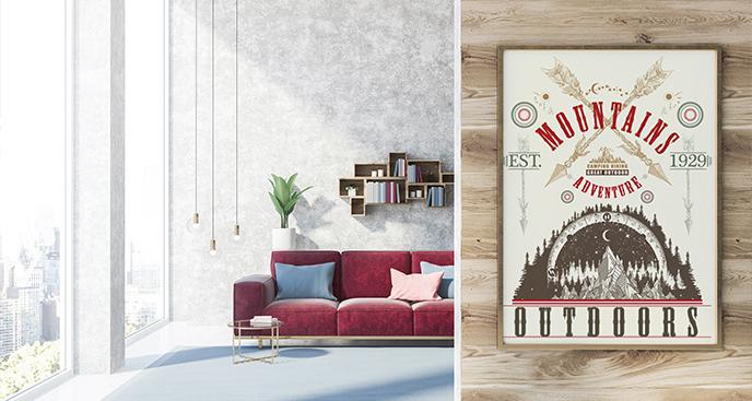 Plakat góry w stylu retro