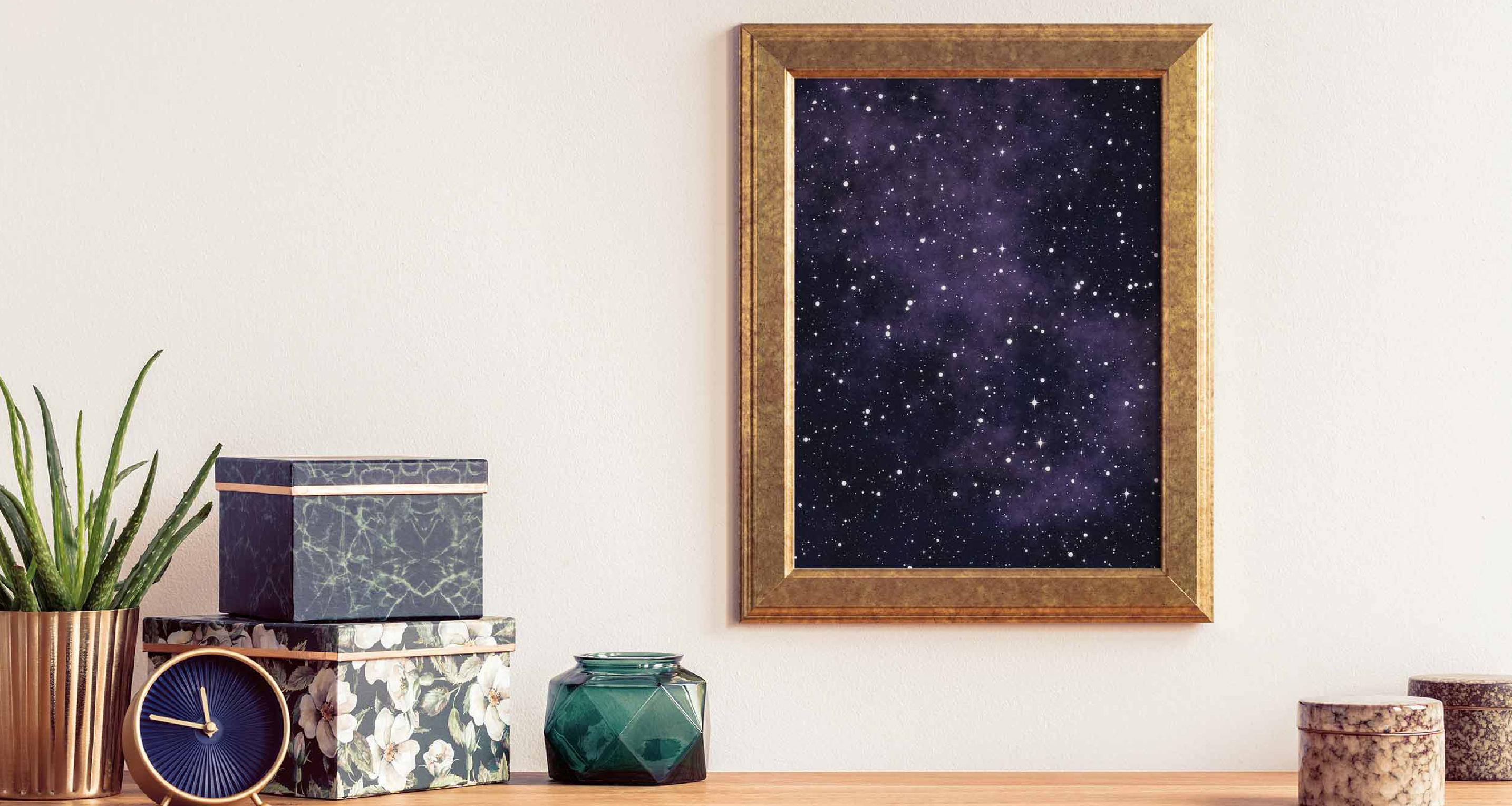 Plakat gwiazdy i wszechświat