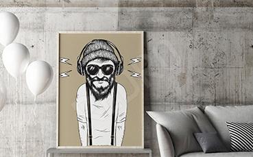 Plakat hipster słuchający muzyki