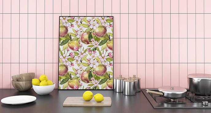 Plakat jabłka wśród kwiatów