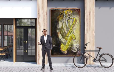 Plakat jazzman do biura
