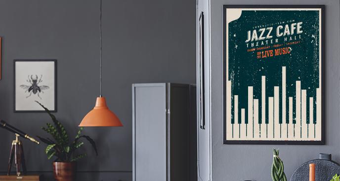 Plakat jazzowy w stylu vintage
