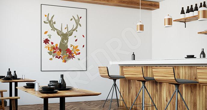 Plakat jeleń i liście