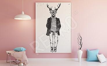 Plakat jeleń w ubraniu