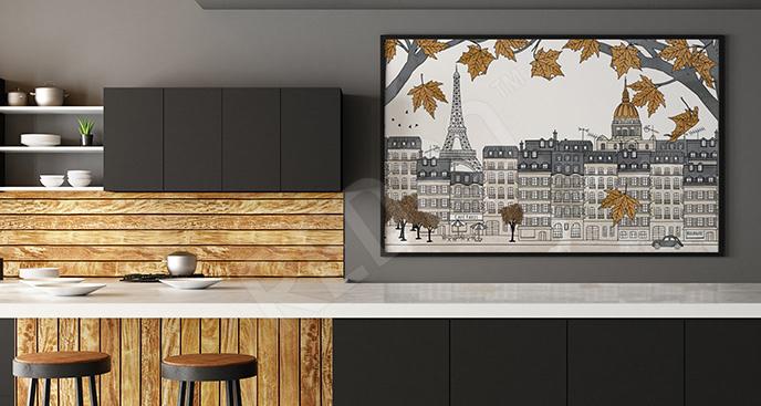 Plakat jesień w Paryżu