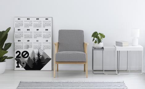 Plakat kalendarz czarno-biały