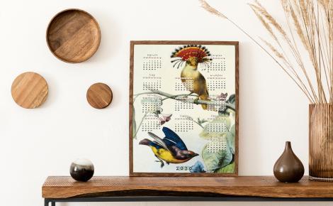 Plakat kalendarz z kolorowymi ptakami