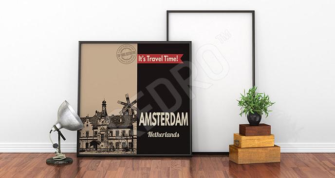 Plakat kamienica w Amsterdamie