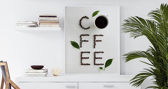 Plakat kawa i liście
