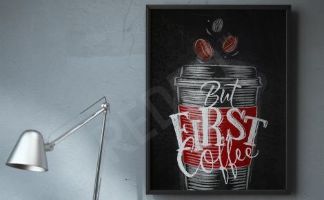 Plakat kawa typografia