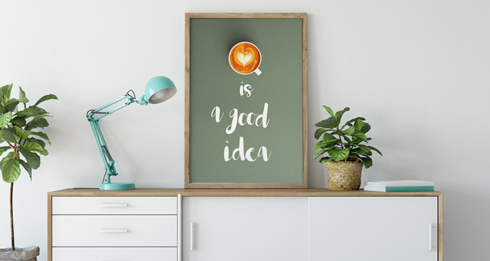 Plakat kawa z sercem
