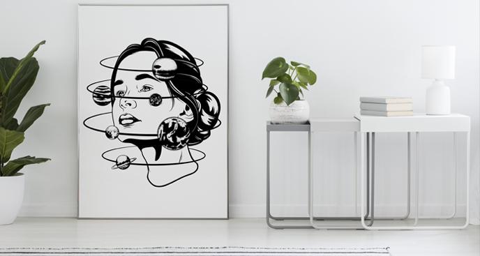 Plakat kobieta i orbita