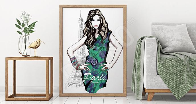 Plakat kobieta w sukience