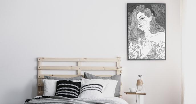 Plakat kobieta wśród fal