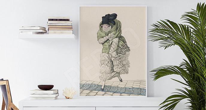 Plakat kobieta z dawnej epoki