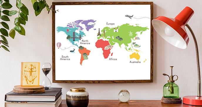 Plakat kolorowa mapa świata