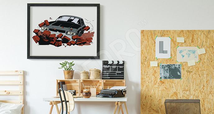 Plakat komiks z samochodem