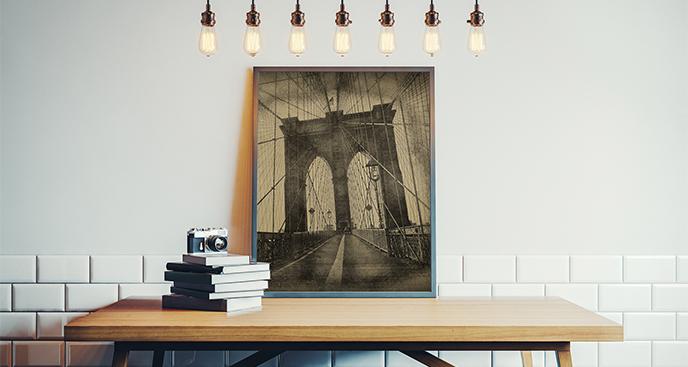 Plakat konstrukcja Mostu Brooklińskiego