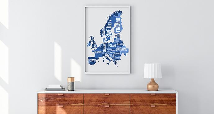Plakat kontynent europejski