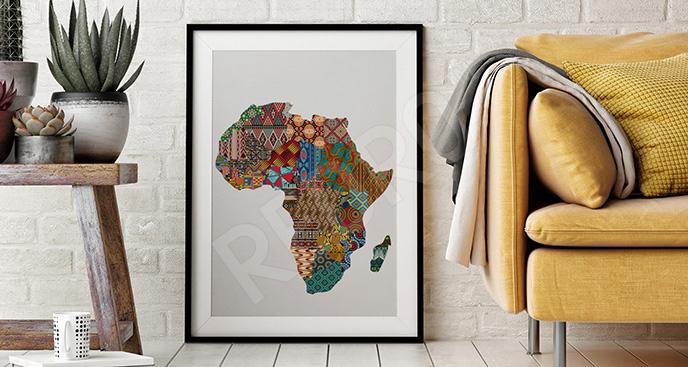 Plakat kontynent w stylu etno